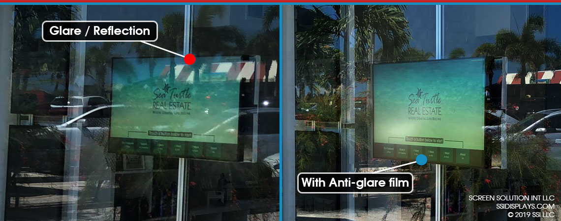 Anti-Glare Film BEfore and After Use at Sea Turtle Realty