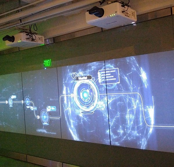 front projection film on a display wall